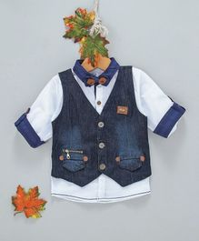 ZY & UP Full Sleeves Shirt With Attached Denim Waistcoat - White