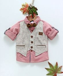 ZY & UP Full Sleeves Shirt With Printed Attached Waistcoat - Pink