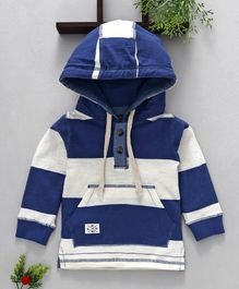 Ollypop Full Sleeves Striped Hooded Sweatshirt - Blue