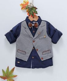 ZY & UP Full Sleeves Solid Shirt With Checked Attached Waistcoat - Blue