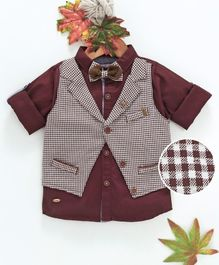 ZY & UP Full Sleeves Solid Shirt With Checked Attached Waistcoat - Maroon