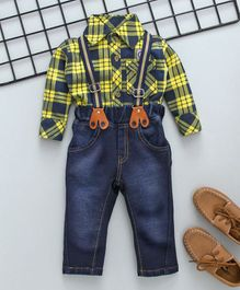 Little Kangaroos Checks Shirt Jeans And Suspenders - Yellow