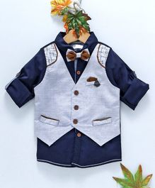 ZY & UP Solid Full Sleeves Shirt With Attached Waistcoat - Navy