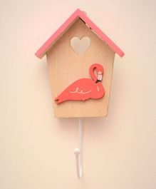 Tipy Tipy Tap Duck Cut Out Hut Shape Wooden Wall Hook - Brown Pink