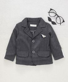 TBB Striped Full Sleeves Blazer - Dark Grey