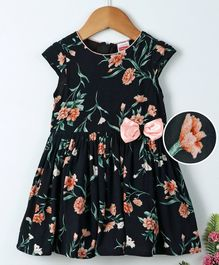 Babyhug Cap Sleeves Frock Floral Print With Bow Applique - Black