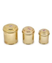 Shripad Steel Home Miniature Brass Container Set of 3 - Golden