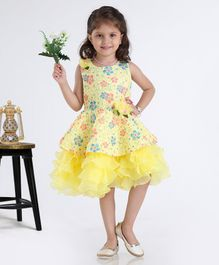 Babyhug Sleeveless Party Wear Frock With Floral Applique - Yellow