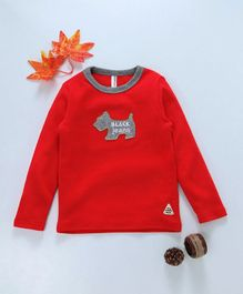 Baobaoshu Dog Applique Full Sleeves Tee - Red