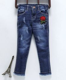 Button Noses Full Length Jeans With Embroidery - Blue