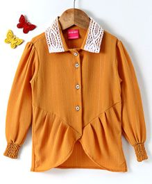 Button Noses Full Sleeves Collar Neck Top - Mustard