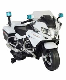 Wheel Power Battery Operated Ride On BMW Police Bike With Sound Effect - White