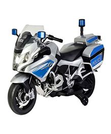 Wheel Power Battery Operated Ride On BMW Police Bike With Sound Effect - Blue Silver