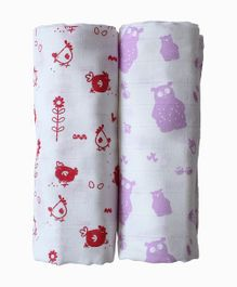 Shumee Organic Muslin Swaddle Hen and Bear Purple & Red - Pack of 2