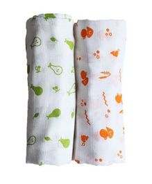 Organic Muslin Swaddle Duck And Pear Print Green & Orange - Pack of 2