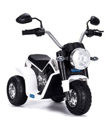 HappyKids Battery Operated Ride on Mini Bike - White