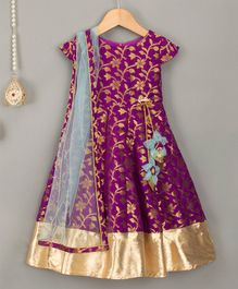 Barbie By Many Frocks & Floral Design Cap Sleeves Gown With Dupatta - Purple