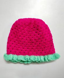 Knit Masters Solid Bordered Woolen Cap - Pink