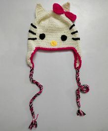 Knit Masters Bow Applique Winter Cap - White & Pink