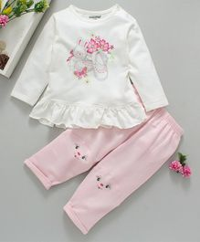 Cucumber Full Sleeves Top With Lounge Pant Bunny Print - White Pink