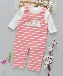 ToffyHouse Striped Romper With Inner Tee Elephant Patch - Peach