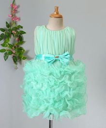 Amigo 7 Seven Bow Applique Ruffled Dress - Green