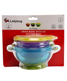 Ladybug Snack Bowl Set with Snap Up Lid & Suction Base Pack of 3 - Multicolor