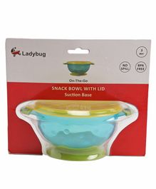 Ladybug Snack Bowl Set with Snap Up Lid & Suction Base - Blue