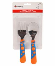 Ladybug Spoon & Fork Set - Blue Orange