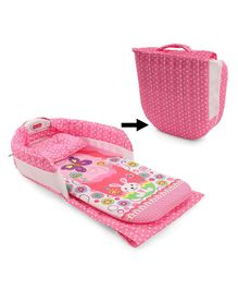 Folding Bed With Pillow Multi Print - Pink