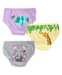 Plan B Lunchtime Panties Pack of 3 - Yellow Grey Purple