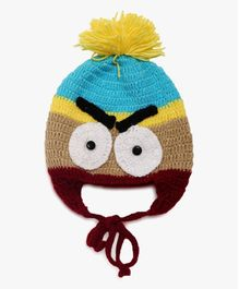 MayRa Knits Woollen Cap With Ear Flaps Big Eyes Design - Multicolour