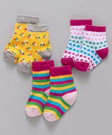 Cute Walk By Babyhug Non Terry Antibacterial Ankle Length Socks Multi Design Pack of 3 Pairs - Multicolour