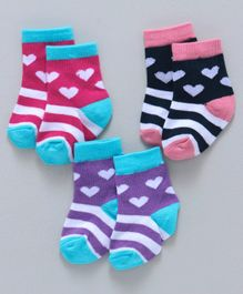 Cute Walk By Babyhug Non Terry Antibacterial Ankle Length Socks Hearts Design Pack of 3 Pairs - Pink Blue Purple