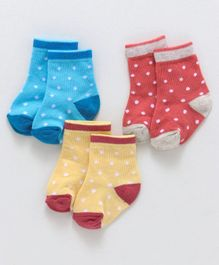 Cute Walk By Babyhug Non Terry Antibacterial Ankle Length Socks Dotted Design Pack of 3 Pairs - Red Blue Yellow