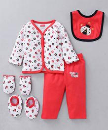 Babyhug Clothing Gift Set Ladybug Embroidery Red white - 5 Pieces