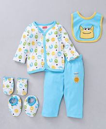Babyhug Clothing Gift Set Monster Embroidery Blue White - 5 Pieces