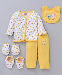 Babyhug Clothing Gift Set Animal Embroidery Yellow White - 5 Pieces