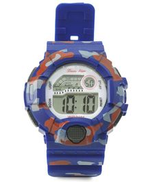 Digital Wrist Watch Camouflage Design - Royal Blue
