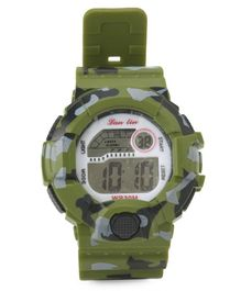 Digital Wrist Watch Camouflage Design - Green
