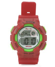 Digital Solid Colour Wrist Watch - Red