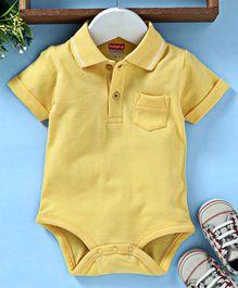 452cefaf1fc1 Babyhug Half Sleeves Polo Neck Cotton Onesie - Yellow