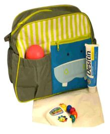 Quirky Monkey Diaper Bag With Changing Mat - Grey & Green
