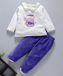 Baby Go Winter Wear Full Sleeves Night Suit Sweet Dreams Embroidered - Purple