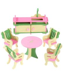Webby Wooden Doll House Dining Room Furniture Play Set -  Multicolour