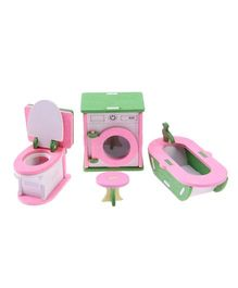 Webby Wooden Doll House Laundry Room Furniture Play Set -  Multicolour
