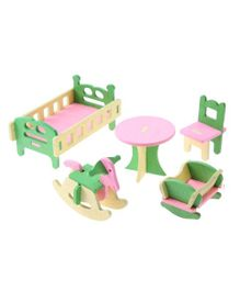 Webby Wooden Doll House Kids Room Furniture Play Set -  Multicolour