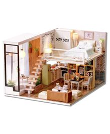 Webby Wooden DIY Modern Miniature Doll House with Lights - Multicolor
