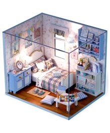 Webby Wooden DIY Bedroom Miniature Doll House With Lights - Blue