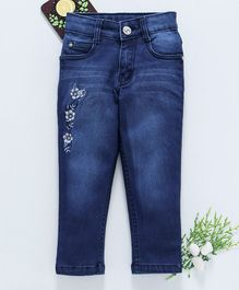 Chicklets Floral Embroidered Full Length Jeans - Blue